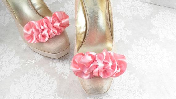 pink ruffle shoe clips