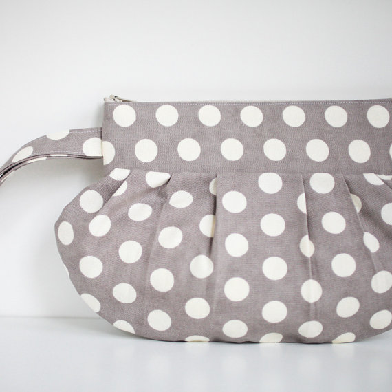 gathered clutch purse in gray and white polka dots