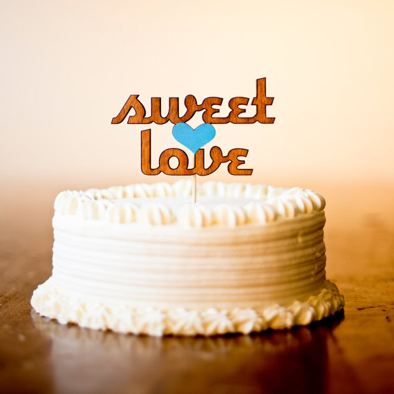 sweet love wooden cake toppers