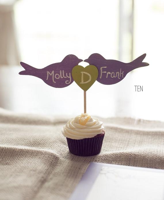 rustic bird wedding cupcake toppers