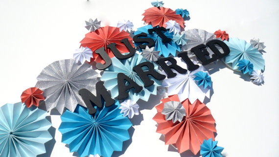 just married pinwheel decor