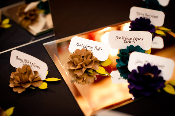 paper flower placecards