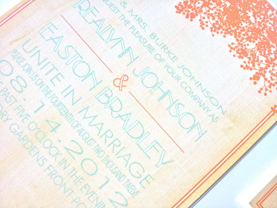 rustic wedding invitations in coral and blue
