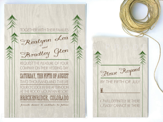 rustic wedding invitation with woodland theme
