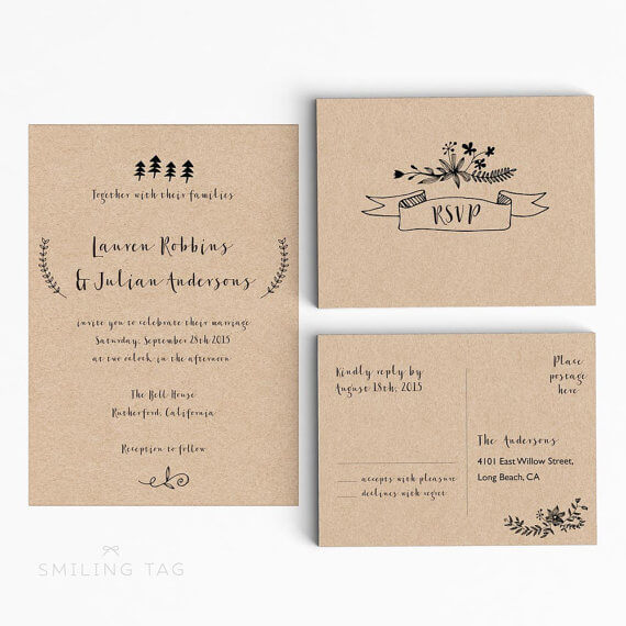 kraft wedding invitations with postcard rsvp by smilingtag