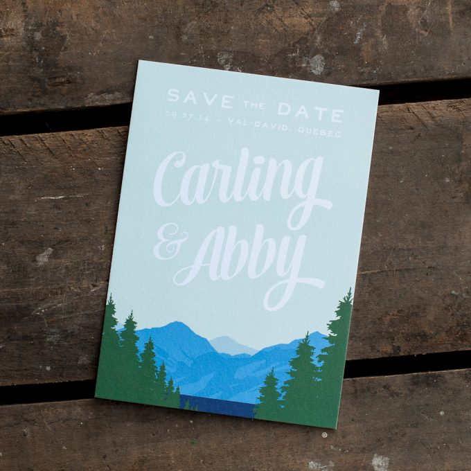 mountain themed save the dates