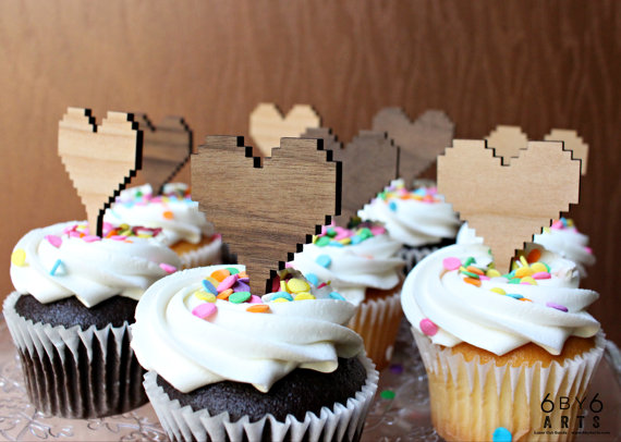 8 bit cupcake toppers