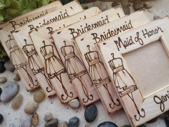 Bridesmaid wood photo frames as gifts by Prince Whitaker | via Wood Themed Wedding Ideas: https://emmalinebride.com/themes/wood-themed-wedding-ideas/