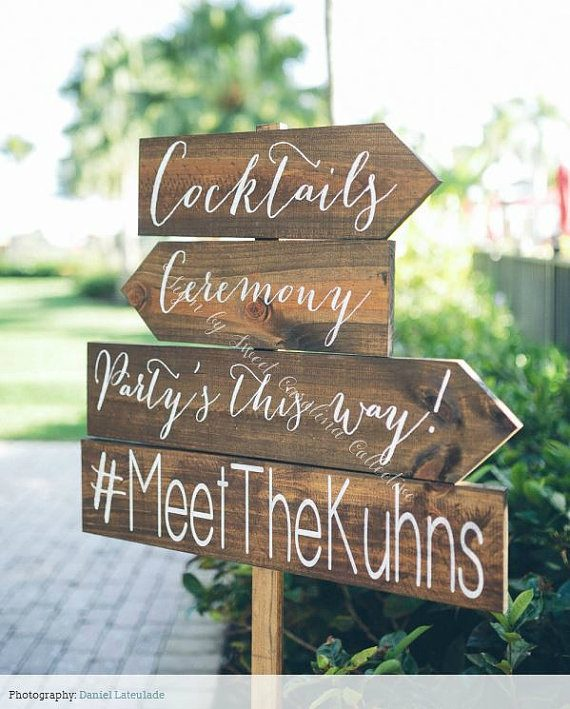Wedding directional sign made of wood by Sweet Carolina Collective | via Wood Themed Wedding Ideas: http://emmalinebride.com/themes/wood-themed-wedding-ideas/