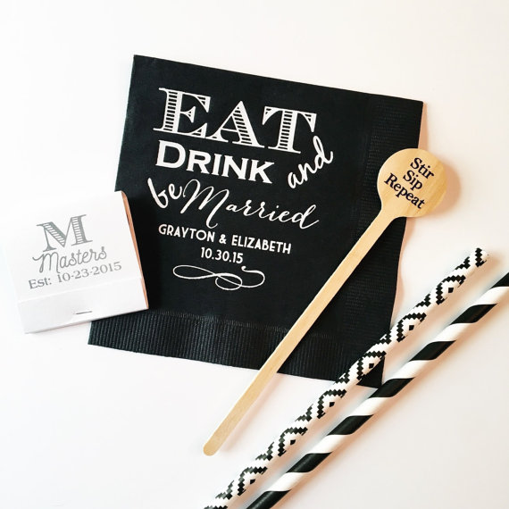 eat drink and be married napkins by sequinsandlipstick