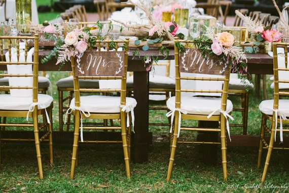 Mr and Mrs Chair Signs by Paper and Pine Co | via Wood Themed Wedding Ideas: http://emmalinebride.com/themes/wood-themed-wedding-ideas/
