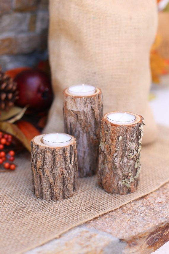 Wood candle holders by Bragging Bags | via Wood Themed Wedding Ideas: https://emmalinebride.com/themes/wood-themed-wedding-ideas/