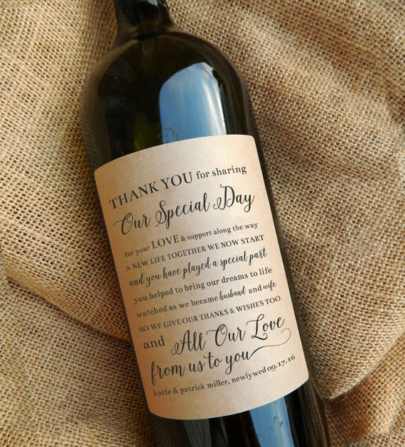 wine bottle labels for favors