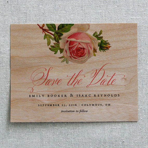 Wood Save the Date by Cheerup Press | via Wood Themed Wedding Ideas: https://emmalinebride.com/themes/wood-themed-wedding-ideas/