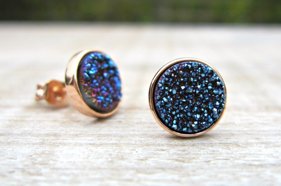 blue druzy earrings by constanceearthstones