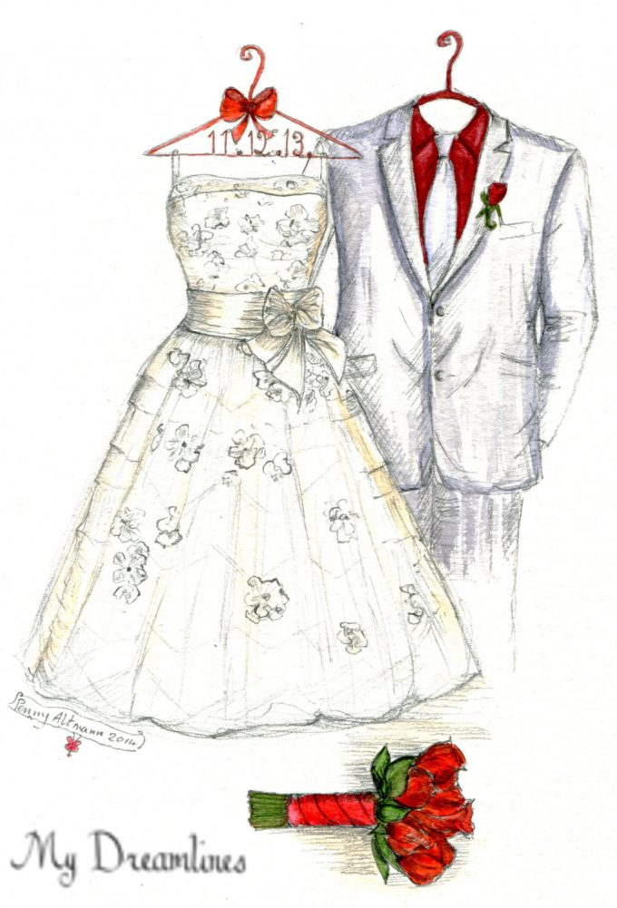christmas wedding ideas - handdrawn wedding dress and suit art for wedding gift by dreamlines