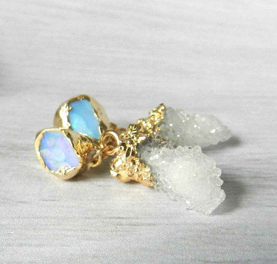 druzy drop earrings by jennleeluxe