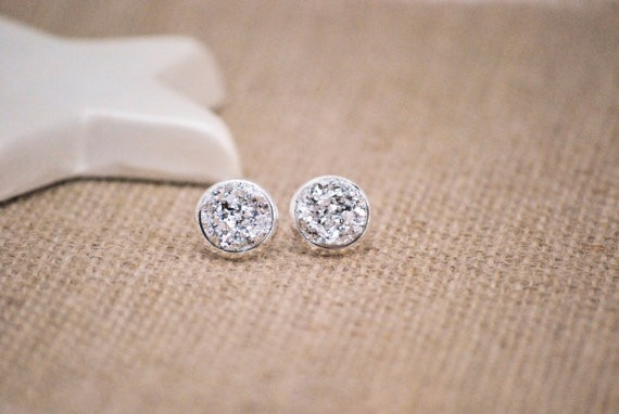 druzy earrings in silver by snowingstars