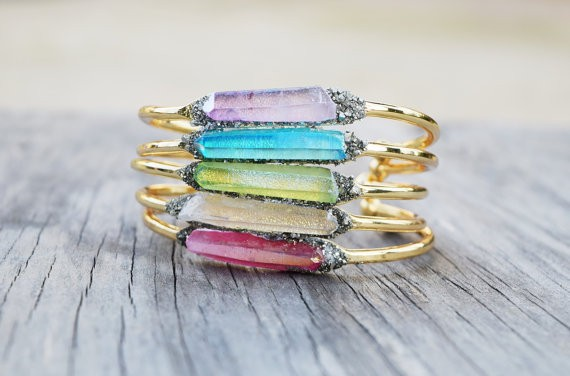 raw crystal and druzy cuff bracelet by HalfMoonFusion