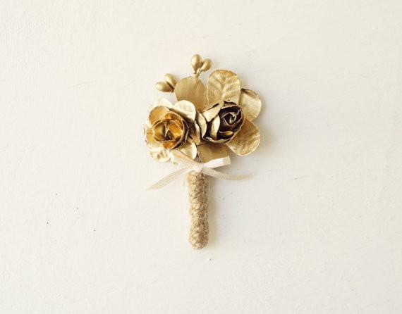 gold groom boutonniere