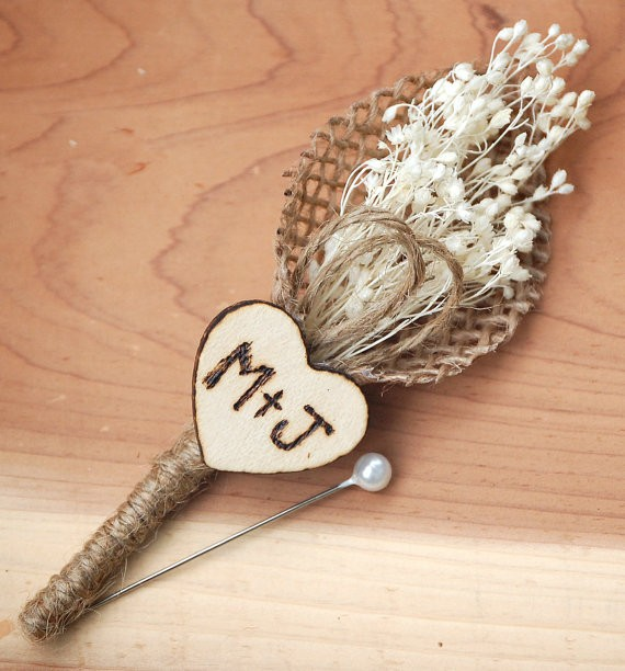 rustic heart boutonniere