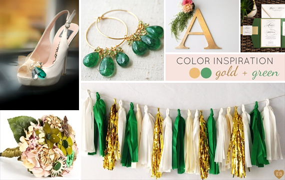 emerald green and gold wedding ideas