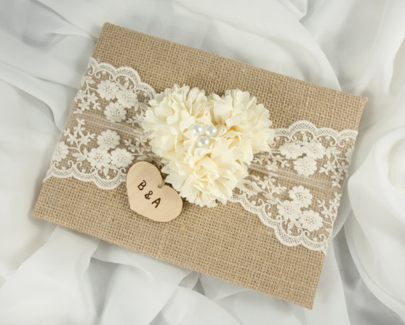 burlap wedding guest book by mrsmylaurie