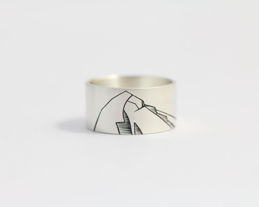 mens mountain wedding ring