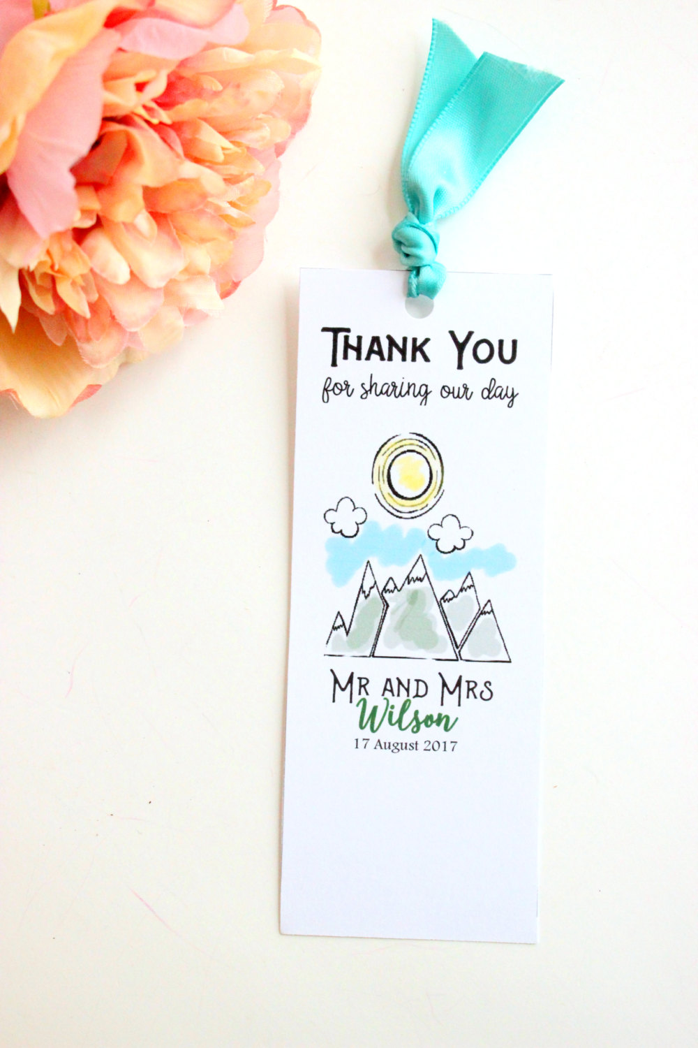 mountain wedding favor bookmarks