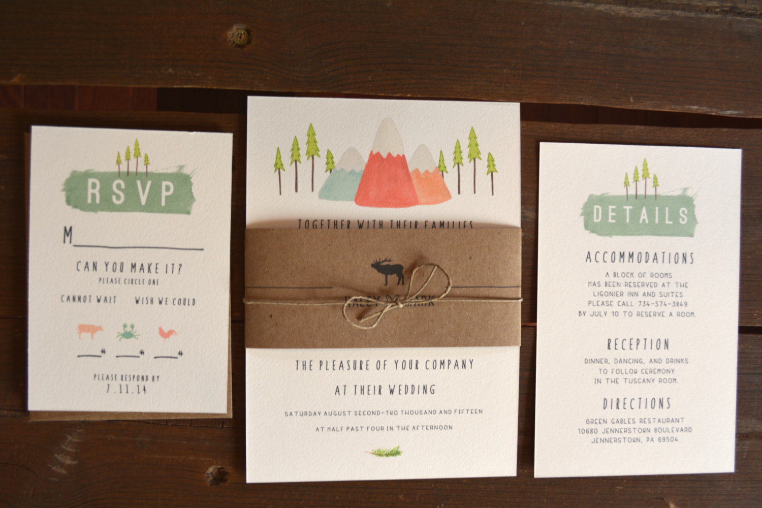 mountain wedding invitations by CabinFeverCraft