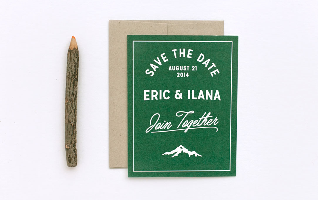 save the date mountain themed wedding by ellothere
