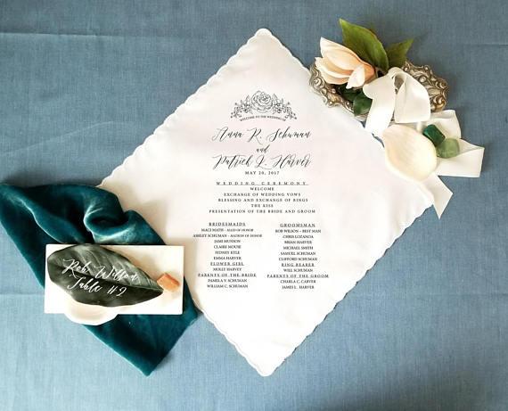 personalized wedding handkerchiefs