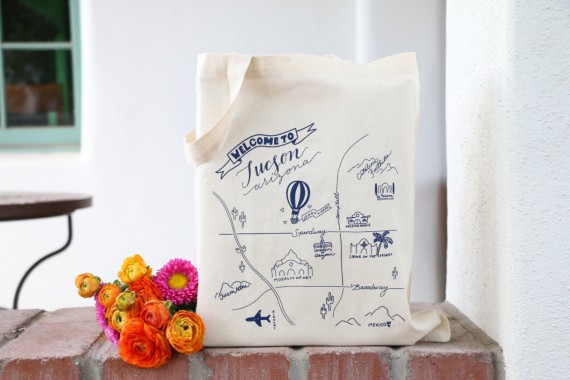 welcome to tucson wedding tote by anthonyandstork