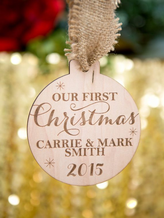 Engraved ornament by zcreatedesign via 50+ First Christmas Ornaments Engaged / Married