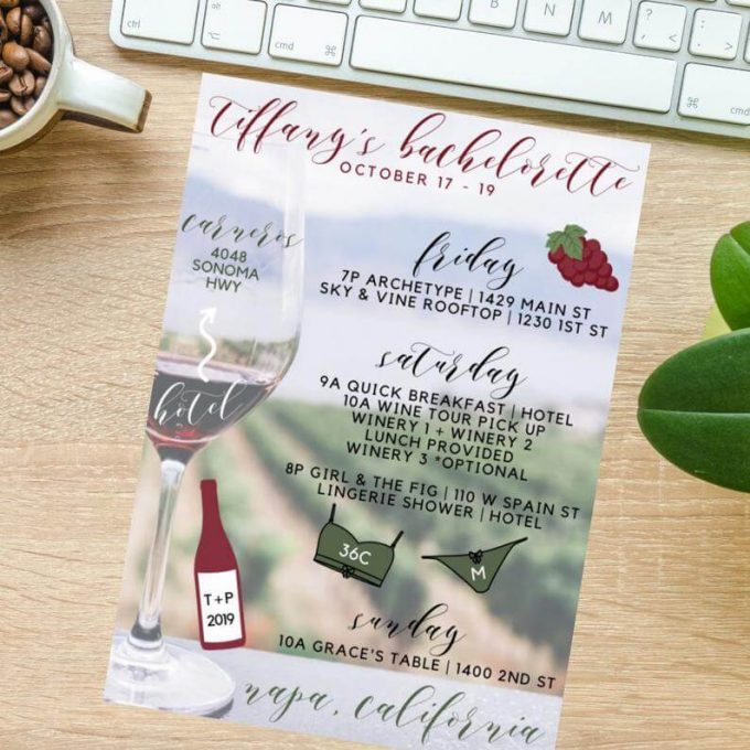 wine themed bachelorette party itinerary