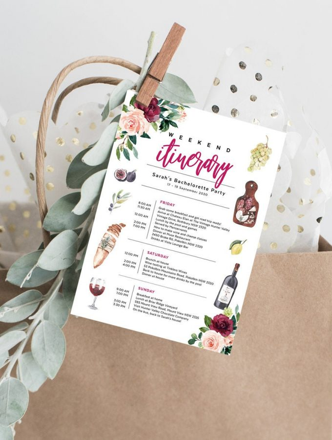 wine themed bachelorette party invitations