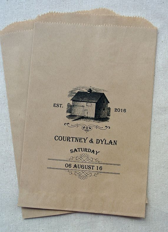 barn wedding favor bags by abbey and izzie designs | barn reception ideas for weddings via https://emmalinebride.com/reception/barn-ideas-weddings/ ‎
