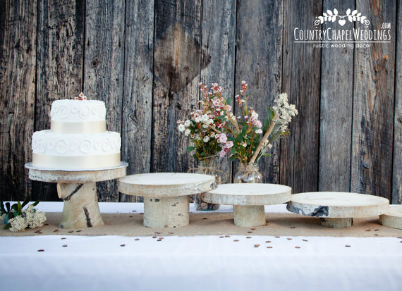 birch cake stands by country chapel