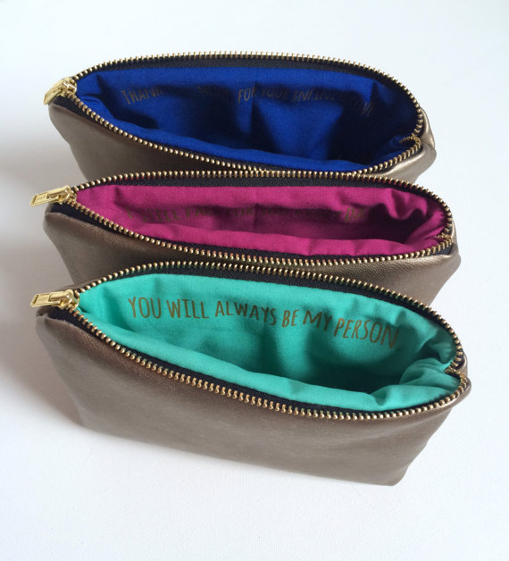 bridesmaid leather pouch
