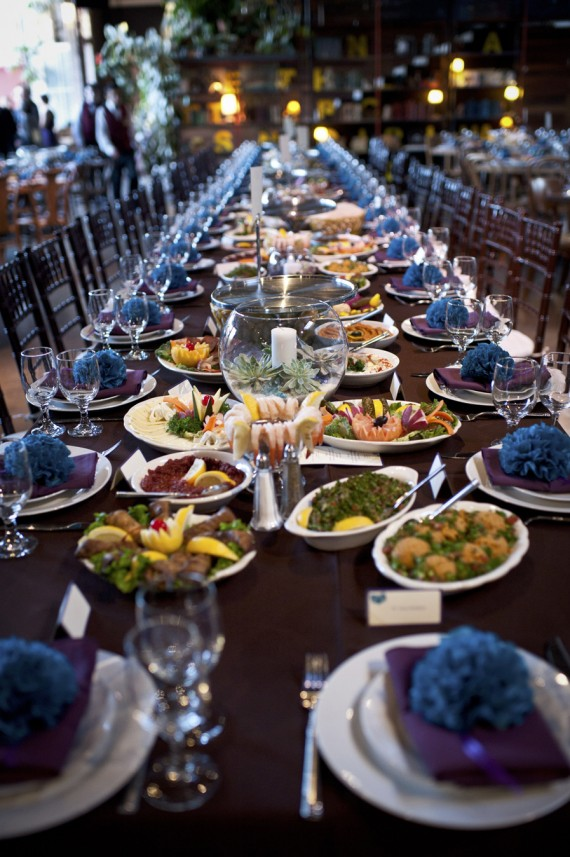 Family-Style Catering Service on Large Tables