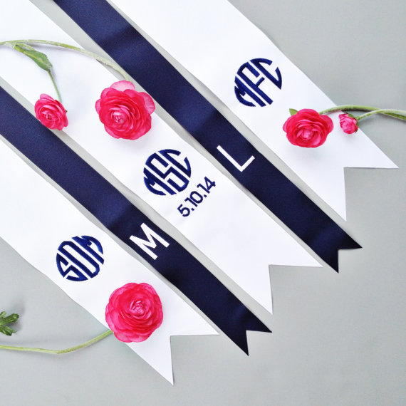 custom monogrammed bouquet ribbon for bridesmaids | by oatmeal lace design | https://emmalinebride.com/2015-giveaway/bouquet-ribbons/