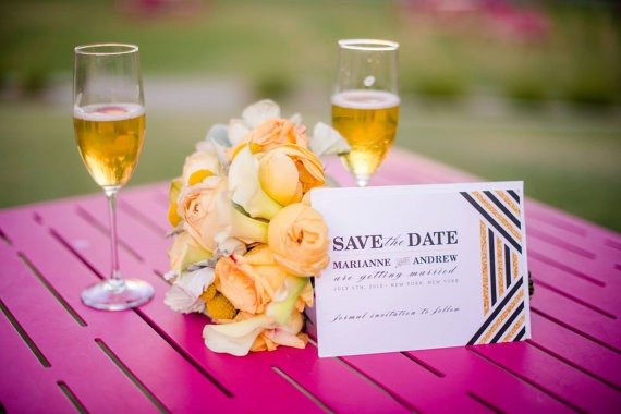 gold and glitter save the date
