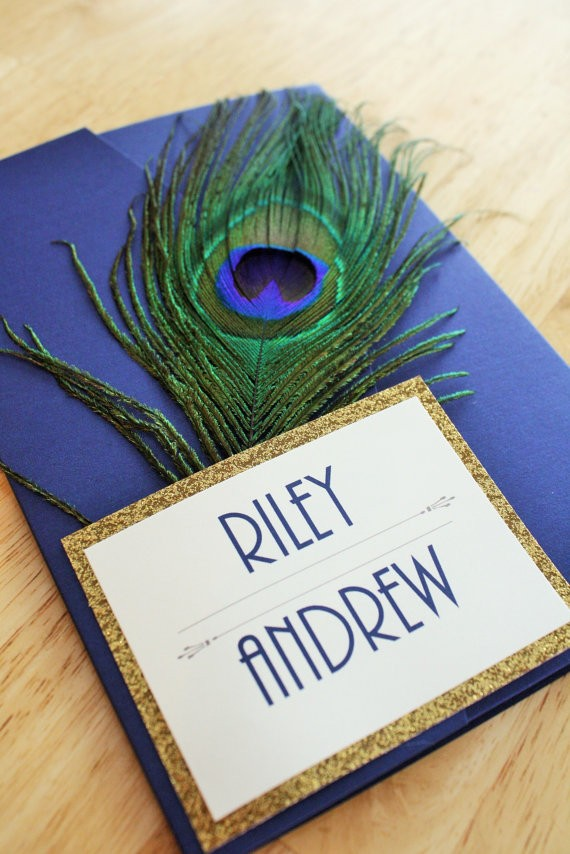 great gatsby peacock invitations