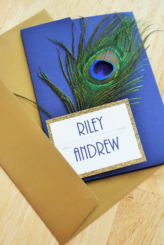 great gatsby themed peacock invitations