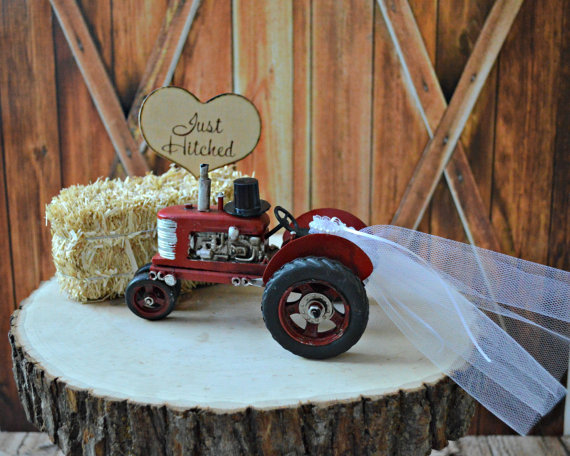 just hitched tractor cake topper by morgan the creator | barn reception ideas for weddings via https://emmalinebride.com/reception/barn-ideas-weddings/ ‎