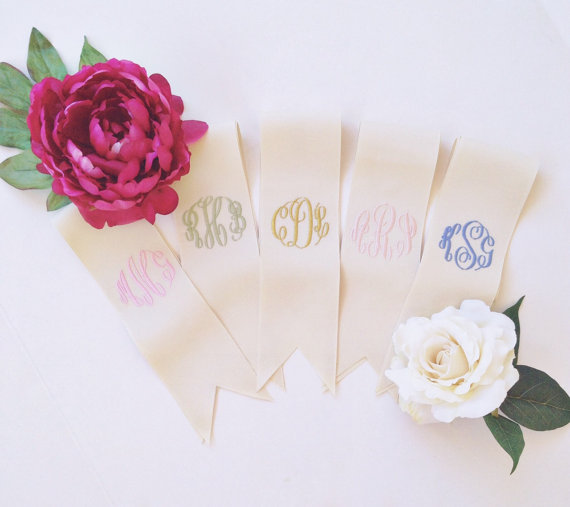 custom monogrammed bouquet ribbon for bridesmaids | monogrammed bouquet ribbons | by oatmeal lace design | http://emmalinebride.com/2015-giveaway/bouquet-ribbons/