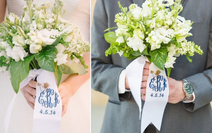 monogrammed bouquet ribbons | by oatmeal lace design | photo: lauren rosenau photography | https://emmalinebride.com/2015-giveaway/bouquet-ribbons/