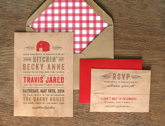 red barn invitations by cheer up cherup | barn reception ideas for weddings via http://emmalinebride.com/reception/barn-ideas-weddings/ ‎