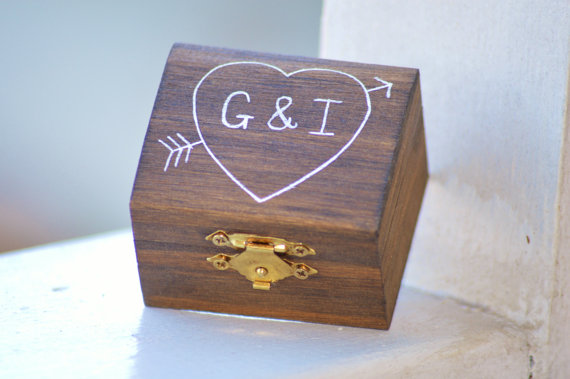 ring box by red heart creations | barn reception ideas for weddings via https://emmalinebride.com/reception/barn-ideas-weddings/ ‎