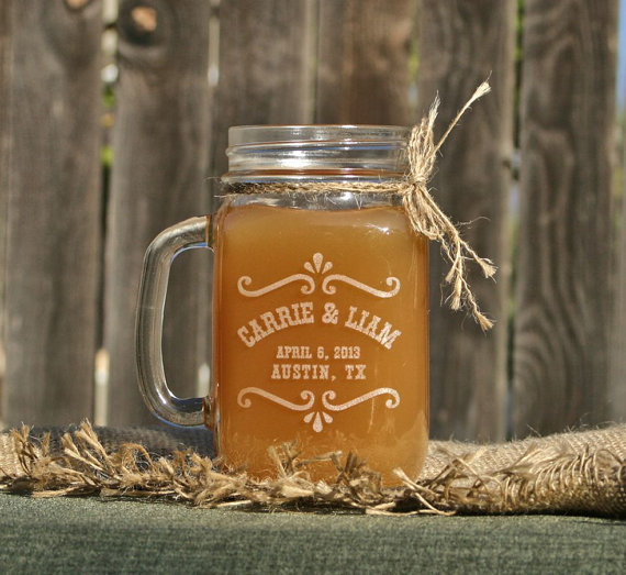 rustic mason jar glass by scissormill via barn reception ideas for weddings